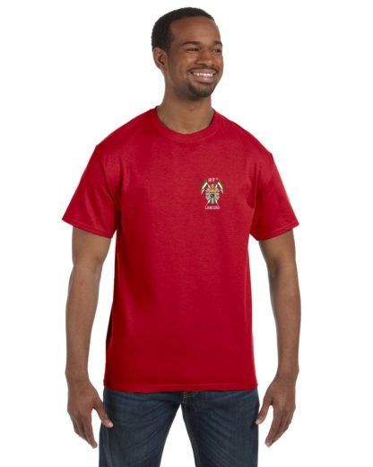 27th Lancers T-Shirt Small Logo Red
