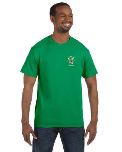 27th Lancers T-Shirt Small Logo Green