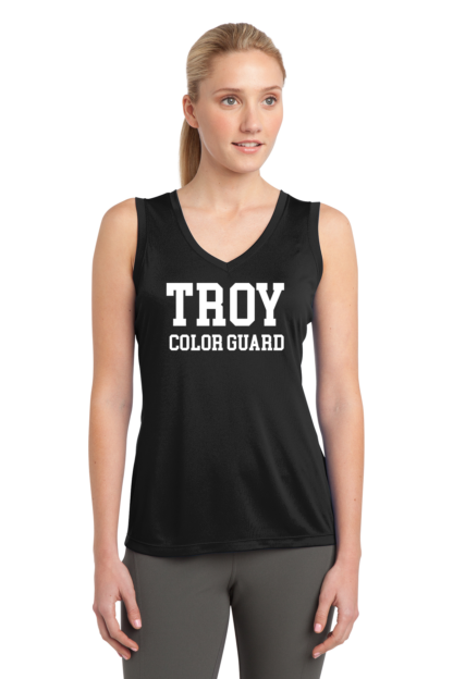 Ladies Red Sleeveless V-Neck T-shirt Troy Color Guard